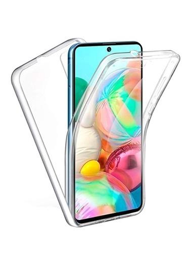 MobilCadde Mobil Cadde Şeffaf Eiroo Protection Samsung Galaxy A02s 360 Derece Koruma Silikon Telefon Kılıfı Renksiz